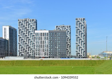 MOSCOW, RUSSIA - MAY 12, 2018: Construction of modern residential buildings in district Tushino and green field