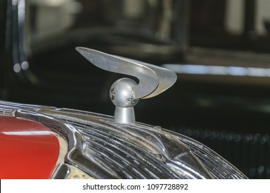 MOSCOW, RUSSIA - MAY 12, 2018: hood ornament retro car Hudson 8 1936. The Museum of the Moscow transport
