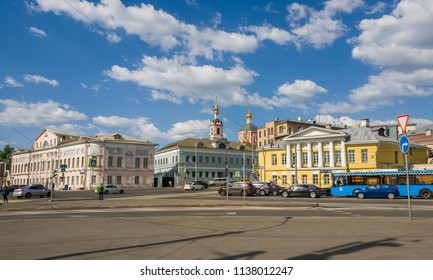 Moscow, Russia - May 12, 2018. General view of Yauzskaya Street is one of oldest streets of city