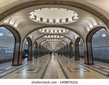 Moscow, Russia -May 12. 2018. Interior metro station Mayakovskaya. Sight