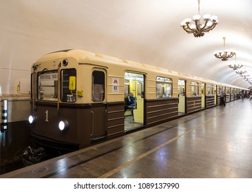 "MOSCOW, RUSSIA - MAY 12, 2018:A A retro-train ""Sokolniki"", stylized as the first train of the Moscow metro. Moscow metro in honor of its 83rd anniversary holds a ""train Parade"". Moscow. Russia"