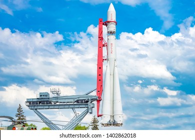 MOSCOW, RUSSIA - MAY 12, 2019- Spaceship Vostok, a monument to the first Soviet rocket at the Exhibition of Economic Achievements against a blue sky with clouds. concept of cosmonautics in the USSR