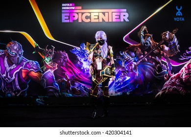 MOSCOW, RUSSIA - MAY 13 2016: EPICENTER MOSCOW Dota 2 cybersport event. Cosplay of game hero templar assasin at the event background