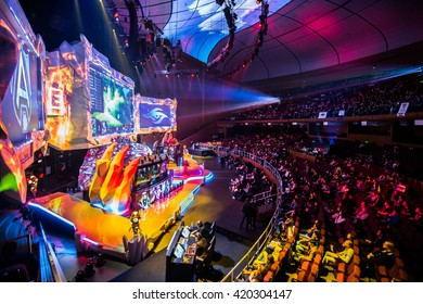 MOSCOW, RUSSIA - MAY 13 2016: EPICENTER MOSCOW Dota 2 cybersport event. Main scene and auditorium