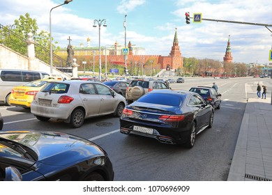 MOSCOW, RUSSIA - MAY, 13 2017: Walking street at Kremlin in Moscow, Russia.  Moscow is one of the most populated metropolitanareas in Russia