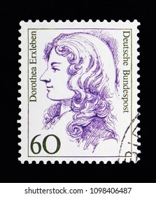 MOSCOW, RUSSIA - MAY 13, 2018: A stamp printed in Federal Republic of Germany shows Dorothea Erxleben (1715-1762), doctor, Women in German History serie, circa 1987