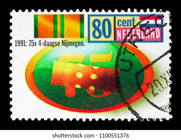 MOSCOW, RUSSIA - MAY 13, 2018: A stamp printed in Netherlands shows Nijmegen International Four Day Marches, serie, circa 1991