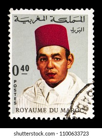 MOSCOW, RUSSIA - MAY 13, 2018: A stamp printed in Morocco shows King Hassan II (1929-1999), serie, circa 1968