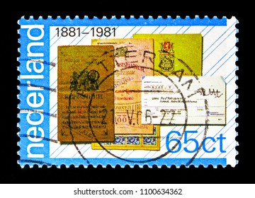 MOSCOW, RUSSIA - MAY 13, 2018: A stamp printed in Netherlands shows Bankbooks and giro transfer form, PTT-services serie, circa 1981
