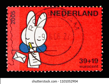 MOSCOW, RUSSIA - MAY 13, 2018: A stamp printed in Netherlands shows Safely, Miffy, Children Stamps - Year of the Disabled serie, circa 2005