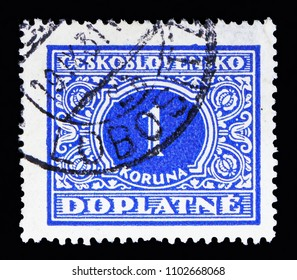 MOSCOW, RUSSIA - MAY 13, 2018: A stamp printed in Czechoslovakia shows Coat of Arms, National  Coat of Arms serie, circa 1928