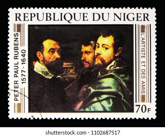 MOSCOW, RUSSIA - MAY 13, 2018: A stamp printed in Niger shows Rubens and Friends, Rubens Paintings serie, circa 1978