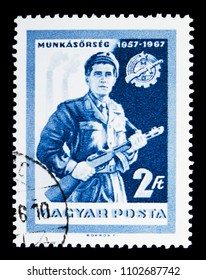 MOSCOW, RUSSIA - MAY 13, 2018: A stamp printed in Hungary shows Worker with rifle, Workers Militia serie, circa 1967