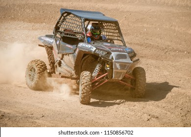 MOSCOW, RUSSIA - MAY 13, 2018: Cars on the track, class Side-by-Side, in the first stage of the racing series RZR CAMP 2018, motorcycle station Burtsevo