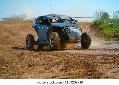 MOSCOW, RUSSIA - MAY 13, 2018: Sirazeev Al'bert 101, class Side-by-Side, in the first stage of the racing series RZR CAMP 2018, motorcycle station Burtsevo