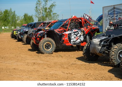 MOSCOW, RUSSIA - MAY 13, 2018: Machines at the start, class Side-by-Side, in the first stage of the racing series RZR CAMP 2018, motorcycle station Burtsevo