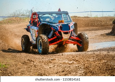 MOSCOW, RUSSIA - MAY 13, 2018: Bagel' Maksim 134, class Side-by-Side, in the first stage of the racing series RZR CAMP 2018, motorcycle station Burtsevo