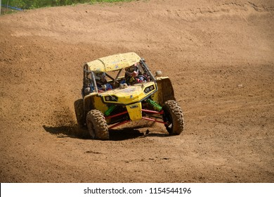 MOSCOW, RUSSIA - MAY 13, 2018: D'yachkov Artem 144, class Side-by-Side, in the first stage of the racing series RZR CAMP 2018, motorcycle station Burtsevo