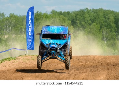 MOSCOW, RUSSIA - MAY 13, 2018: Malikov Ivan 117, class Side-by-Side, in the first stage of the racing series RZR CAMP 2018, motorcycle station Burtsevo