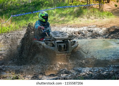 MOSCOW, RUSSIA - MAY 13, 2018: Klochkov Aleksey 35, class ATV, in the first stage of the racing series RZR CAMP 2018, motorcycle station Burtsevo