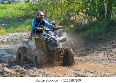 MOSCOW, RUSSIA - MAY 13, 2018: Formalin Aleksandr 48, class ATV, in the first stage of the racing series RZR CAMP 2018, motorcycle station Burtsevo