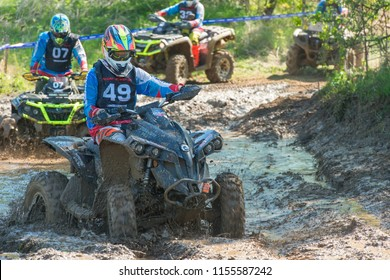 MOSCOW, RUSSIA - MAY 13, 2018: Fedulov Mikhail 49, class ATV, in the first stage of the racing series RZR CAMP 2018, motorcycle station Burtsevo