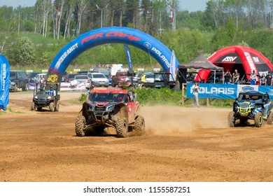 MOSCOW, RUSSIA - MAY 13, 2018: Danilov Aleksey 115, class Side-by-Side, in the first stage of the racing series RZR CAMP 2018, motorcycle station Burtsevo