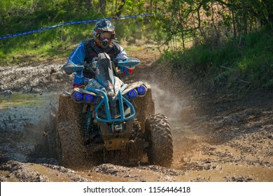 MOSCOW, RUSSIA - MAY 13, 2018: Parkhomov Sergey 25, class ATV, in the first stage of the racing series RZR CAMP 2018, motorcycle station Burtsevo
