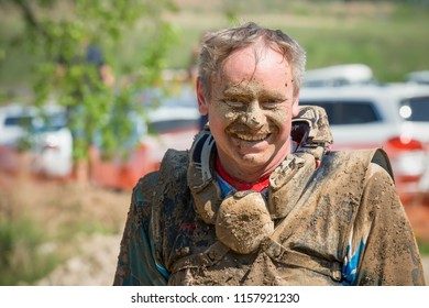 MOSCOW, RUSSIA - MAY 13, 2018: Portrait of an athlete after the race, in the first stage of the racing series RZR CAMP 2018, motorcycle station Burtsevo