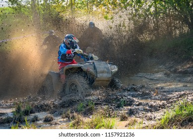 MOSCOW, RUSSIA - MAY 13, 2018: Gridnev Andrey 06, class ATV, in the first stage of the racing series RZR CAMP 2018, motorcycle station Burtsevo