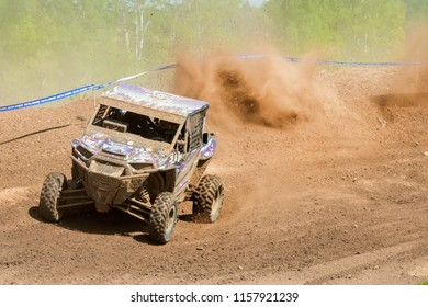 MOSCOW, RUSSIA - MAY 13, 2018: Shumeyko Artem 311, class Side-by-Side, in the first stage of the racing series RZR CAMP 2018, motorcycle station Burtsevo