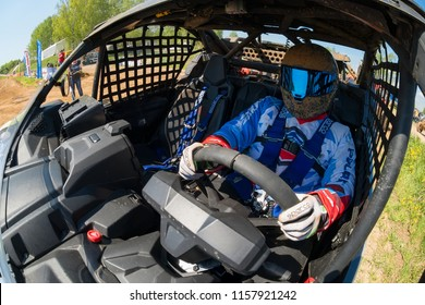 MOSCOW, RUSSIA - MAY 13, 2018: Oreshkin Nikita 131, class Side-by-Side, in the first stage of the racing series RZR CAMP 2018, motorcycle station Burtsevo