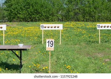 MOSCOW, RUSSIA - MAY 13, 2018: Targets for Moto-biathlon on the summer field in the first stage of the racing series RZR CAMP 2018, Auto-Moto Track Burtsevo