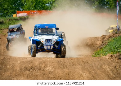 MOSCOW, RUSSIA - MAY 13, 2018: Galeev Aydar 128, class Side-by-Side, in the first stage of the racing series RZR CAMP 2018, motorcycle station Burtsevo