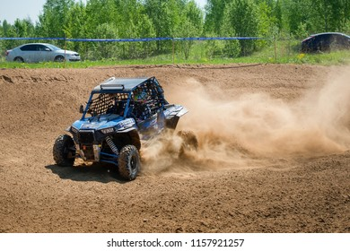 MOSCOW, RUSSIA - MAY 13, 2018:Klimkin Dmitry 113, class Side-by-Side, in the first stage of the racing series RZR CAMP 2018, motorcycle station Burtsevo