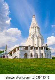 Moscow, Russia - May, 13, 2019: Church of the Ascension in Kolomenskoye Park in Moscow at spring