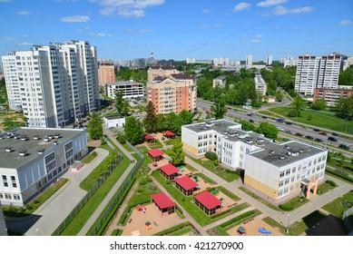 Moscow, Russia - May 13.2016. Top view  20 district of Zelenograd with kindergarten