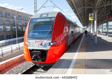 MOSCOW, RUSSIA - MAY 14, 2017: 82 the Moscow subway. Parade of trains in 2017