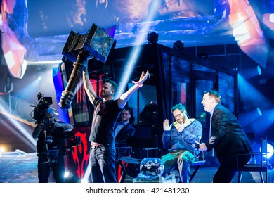 MOSCOW, RUSSIA - MAY 15 2016: EPICENTER MOSCOW Dota 2 cyber sports event. Rob Kazinsky actor (Orgrim Doomhammer) with doom hammer on the stage