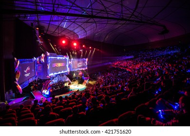 MOSCOW, RUSSIA - MAY 15 2016: EPICENTER MOSCOW Dota 2 cyber sports event. Crocus city hall arena. Event logo on the screen