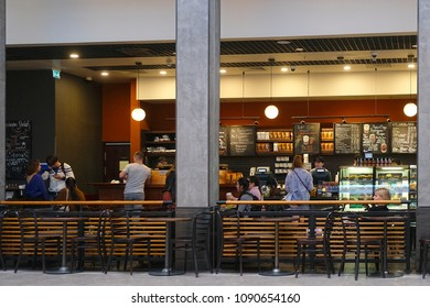 Moscow, Russia - May, 15, 2018: cafe in  supermarket hall in Moscow, Russia