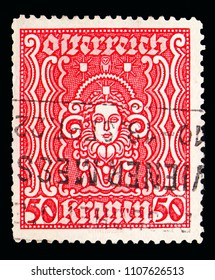 MOSCOW, RUSSIA - MAY 15, 2018: A stamp printed in Austria shows Woman's head, serie, circa 1922