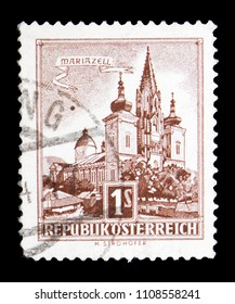 MOSCOW, RUSSIA - MAY 15, 2018: A stamp printed in Austria shows Basilica of Mariazell (Styria), Buildings serie, circa 1959