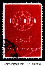 MOSCOW, RUSSIA - MAY 15, 2018: A stamp printed in Belgium shows C.E.P.T. - Chain, serie, circa 1959
