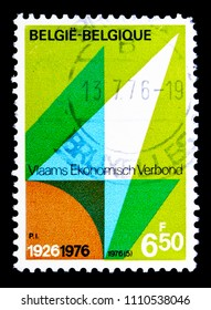 MOSCOW, RUSSIA - MAY 15, 2018: A stamp printed in Belgium shows Flemish Economic Organisation, serie, circa 1976