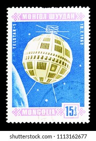 MOSCOW, RUSSIA - MAY 15, 2018: A stamp printed in Mongolia shows Telstar-1 (10.7.1962), Space satellites serie, circa 1966
