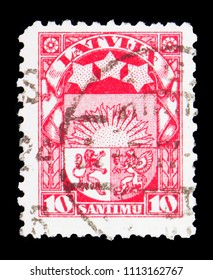 MOSCOW, RUSSIA - MAY 15, 2018: A stamp printed in Latvia shows Coat of arms, Definitives serie, circa 1927