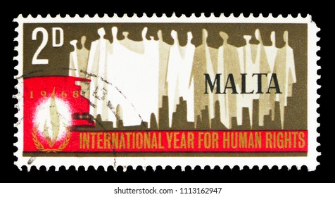 MOSCOW, RUSSIA - MAY 15, 2018: A stamp printed in Malta devoted to Human Rights, serie, circa 1968