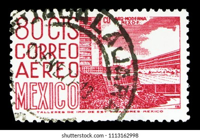 MOSCOW, RUSSIA - MAY 15, 2018: A stamp printed in Mexico shows New sports center at the University City, Mexico City, Local Images serie, circa 1952