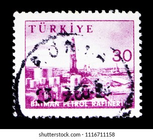 MOSCOW, RUSSIA - MAY 15, 2018: A stamp printed in Turkey shows Pictorial, Industry and Technology serie, circa 1959